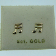 9ct Gold Musical note stud earrings